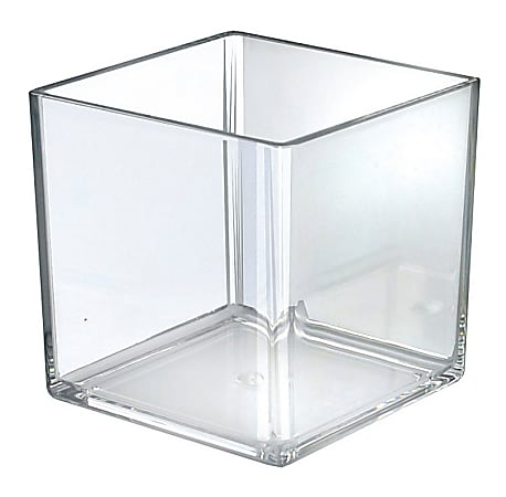 Azar Displays Cube Display Bins, Medium Size, Clear, Pack Of 4