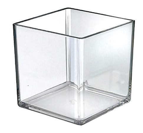 Azar Displays Deluxe Cube Bins, Medium Size, Clear, Pack Of 4