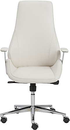 Eurostyle Bergen Faux Leather High-Back Commercial Office Chair, Chrome/White