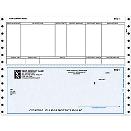 "Custom Continuous Accounts Payable Checks For Sage Peachtree®, 9 1/2"" x 7"", 1 Part, Box Of 250"