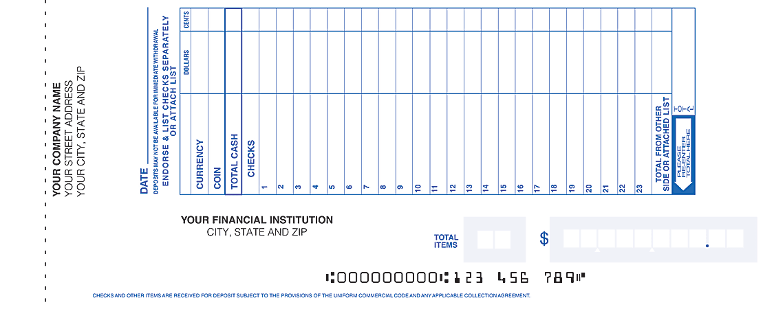 "Custom Book Bound Deposit Tickets, 2 Part, 8"" x 3 3/8"", Box Of 200"