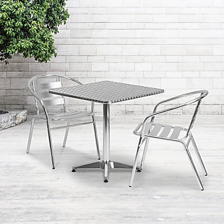 """Flash Furniture Square Aluminum Indoor/Outdoor Table Set With 2 Slat-Back Chairs, 27-1/2""""H x 27-1/2""""W x 27-1/2""""D, Aluminum"""