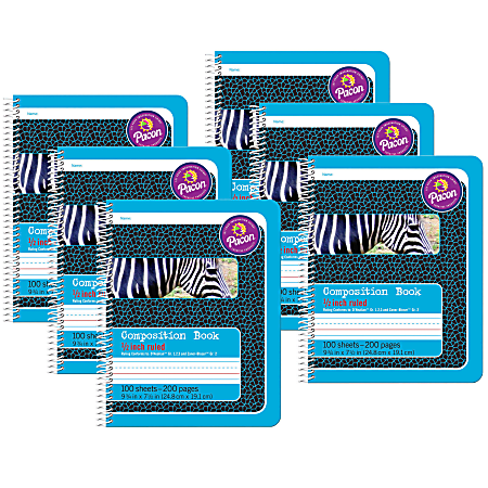 "Pacon® Primary Composition Books, 7-1/2"" x 9-3/4"", 1/2"" Ruled, 200 Pages (100 Sheets), Blue/Zebra, Pack Of 6 Notebooks"