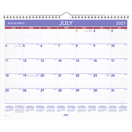 """AT-A-GLANCE® Academic Monthly Wall Calendar, Medium, 15"""" x 12"""", July 2021 to June 2022, AY828"""