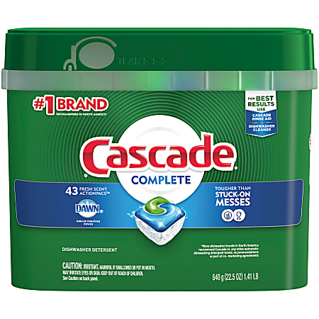 Cascade® Complete ActionPacs™ Dishwasher Detergent Pods, Fresh Scent, Box Of 43