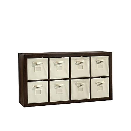 "Sauder® Stow-Away 8-Cube Organizer With Fabric Bins, 57-7/8""H x 30-7/8""W x 15-3/8""D, Smoked Oak"