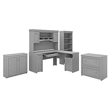"Bush Furniture Fairview 60""W L-Shaped Desk With Hutch, Storage Cabinets And 5-Shelf Bookcase, Cape Cod Gray, Standard Delivery"