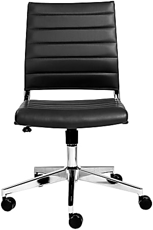 Eurostyle Brooklyn Armless Faux Leather Low-Back Commercial Office Chair, Black/Chrome