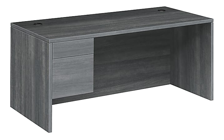 "HON® 10500 Series 66""W 2-Drawer Left-Pedestal Desk, Sterling Ash"