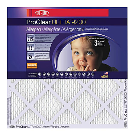 """DuPont ProClear Ultra 9200 Air Filters, 18""""H x 18""""W x 1""""D, Pack Of 4 Air Filters"""