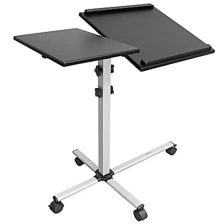 """Mount-It MI-7945 Rolling Laptop Tray And Projector Cart, 26""""H x 24""""W x 3""""D, Black"""