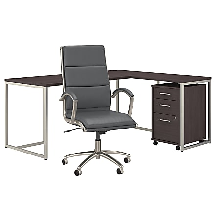 """kathy ireland® Office by Bush Business Furniture Method 72""""W L-Shaped Desk With Mobile File Cabinet And High-Back Office Chair, Storm Gray, Standard Delivery"""