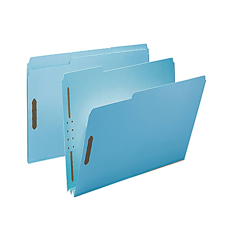 """Smead® Pressboard Fastener Folders, 2"""" Expansion, 8 1/2"""" x 11"""", Letter, 100% Recycled, Blue, Box of 25"""