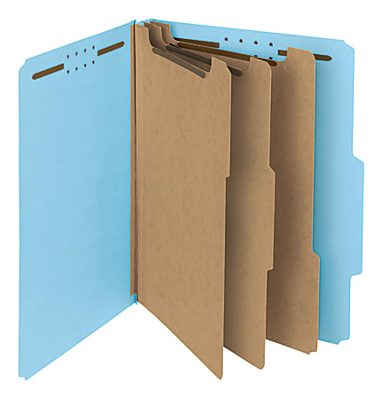 Smead® Pressboard Classification Folders, 3 Dividers, Letter Size, 100% Recycled, Blue, Box Of 10