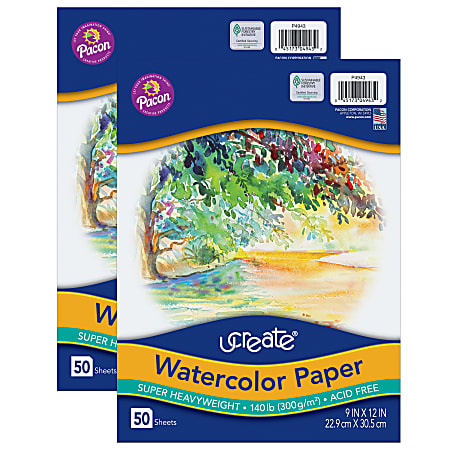 """Pacon® UCreate Watercolor Paper, 9"""" x 12"""", White, 50 Sheets Per Pack, Case Of 2 Packs"""