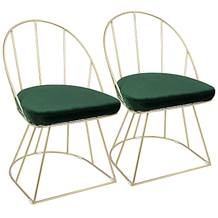 LumiSource Canary Dining Chairs, Gold/Green, Set Of 2 Chairs