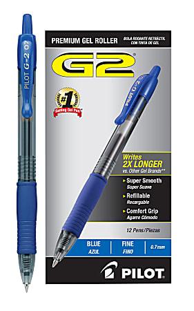 Pilot® G-2 Retractable Gel Pens, Fine Point, 0.7 mm, Clear Barrels, Blue Ink, Pack Of 12 Pens