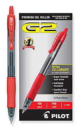 Pilot® G-2® Retractable Gel Pens, Fine Point, 0.7 mm, Clear Barrels, Red Ink, Pack Of 12 Pens