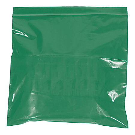 """Office Depot® Brand Colored Reclosable Poly Bags, 2 mils, 10"""" x 12"""", Green, Case Of 1,000"""