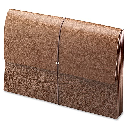"""Smead® Leather-Like Expanding Wallet, Legal Size, 5 1/4"""" Expansion, Tyvek® Lined, 30% Recycled, Brown"""