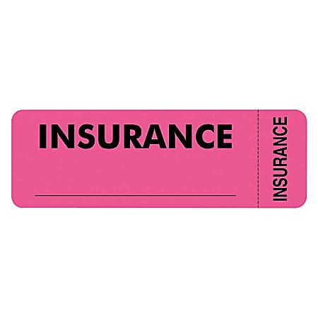 "Tabbies® Permanent ""Insurance"" Label Roll, TAB06420, Pink, Roll Of 250"