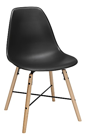 OFM 161 Collection Mid-Century Modern Molded Dining Chairs, Black, Set Of 4 Chairs