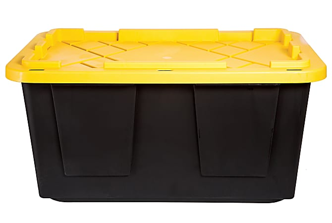 """Office Depot® Brand by GreenMade® Professional Storage Tote With Handles/Snap Lid, 27 Gallon, 30-1/10"""" x 20-1/4"""" x 14-3/4"""", Black/Yellow"""