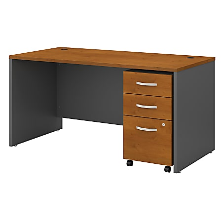 """Bush Business Furniture Components 60""""W Office Desk With 3-Drawer Mobile File Cabinet, Natural Cherry/Graphite Gray, Standard Delivery"""