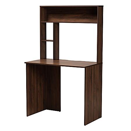 "Baxton Studio Modern And Contemporary 36""W Computer Desk With Storage, Walnut Brown"