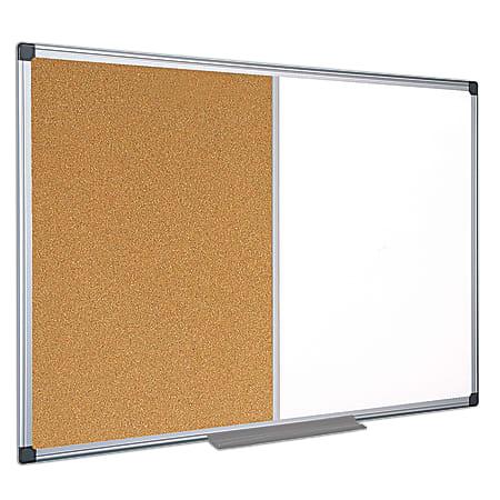 "MasterVision® Cork/Non-Magnetic Melamine Dry-Erase Whiteboard Combination Board, 36"" x 48"", Silver Aluminum Frame"