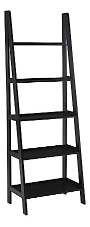 """Linon Collette 72""""H 5-Shelf Ladder Bookcase, Black"""