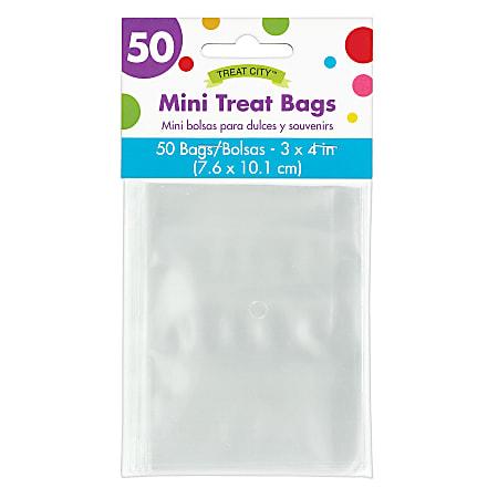 "Amscan Mini Treat Bags, 4""H x 3""W x 3""D, Clear, Pack Of 200 Bags"