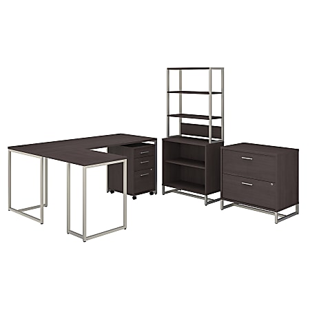 """kathy ireland® Office by Bush Business Furniture Method 72""""W L-Shaped Desk With 30""""W Return, File Cabinets And Bookcase, Storm Gray, Standard Delivery"""