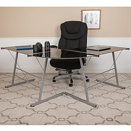 """Flash Furniture 84"""" L-Shaped Corner Computer Desk, Black/Silver"""