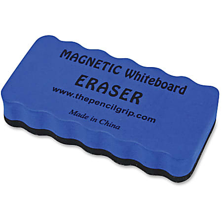 "The Pencil Grip Magnetic Whiteboard Eraser - 2"" Width x 4"" Length - Ergonomic Design, Soft, Dirt Resistant, Magnetic - Blue - 1Each"