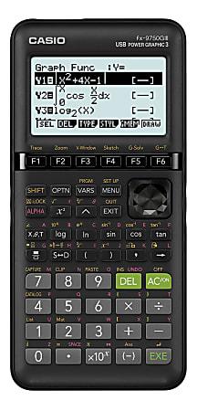 Casio® fx-9750GIII USB Power Graphic 3 Graphing Calculator, Black, FX-9750GIII