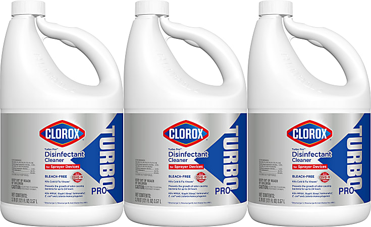 Clorox Turbo Pro™ Bleach-Free Disinfectant Cleaner for Sprayer Devices, 121 Oz, Case Of 3