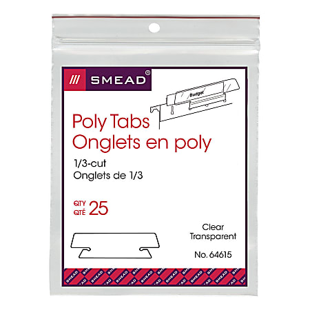 """Smead® Clear Hanging Poly Tabs, 3 1/2"""" For 1/3 Cut Tabs, Pack Of 25"""