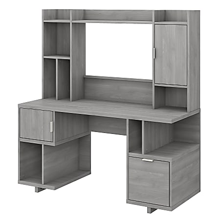 """kathy ireland® Home by Bush Furniture Madison Avenue 60""""W Computer Desk With Hutch, Modern Gray, Standard Delivery"""