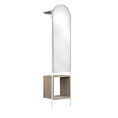 """Sauder® Anda Norr Wall Mount Entryway Storage With Mirror, 71-7/8""""H x 18-3/4""""W x 11-7/8""""D, White"""