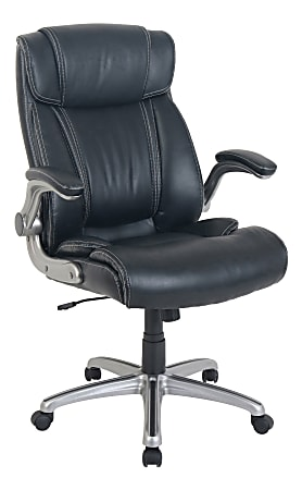 Lorell® SOHO Flip Armrest Bonded Leather High-Back Chair, Black/Silver
