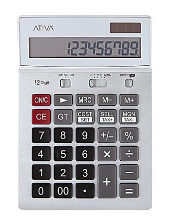 "Ativa® KC-422 12-Digit Desktop Calculator, 6.88""H x 4.72""W x 1.59""D, Silver"