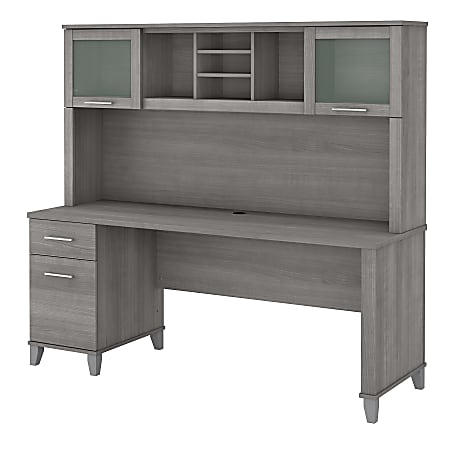 """Bush Furniture Somerset Office Desk With Hutch, 72""""W, Platinum Gray, Standard Delivery"""