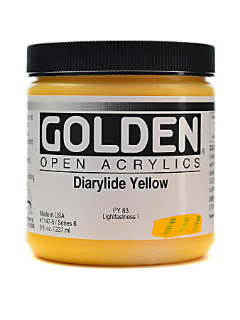 Golden OPEN Acrylic Paint, 8 Oz Jar, Diarylide Yellow