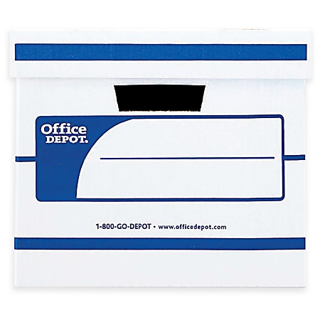 """Office Depot® Brand Standard-Duty Storage Box With Lift-Off Lid And Built-In Handles, Letter/Legal Size, 15"""" x 12"""" x 10"""", 60% Recycled, White/Blue"""