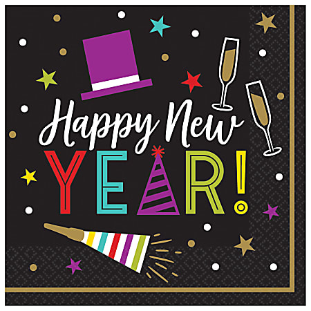 """Amscan Bright New Year's Eve 2-Ply Lunch Napkins, 6-1/2"""" x 6-1/2"""", Black, 125 Napkins Per Pack, Case Of 2 Packs"""