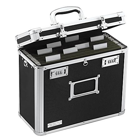"Vaultz® Locking Storage File Tote, Letter Size, 12 1/4"" x 13 3/4"" x 7 1/4"", Black"