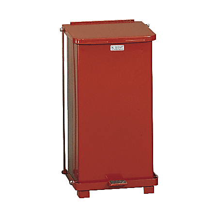 """United Receptacle Defenders Steel Step Can, 12 Gallons, 23"""" x 12"""" x 12"""", Red"""