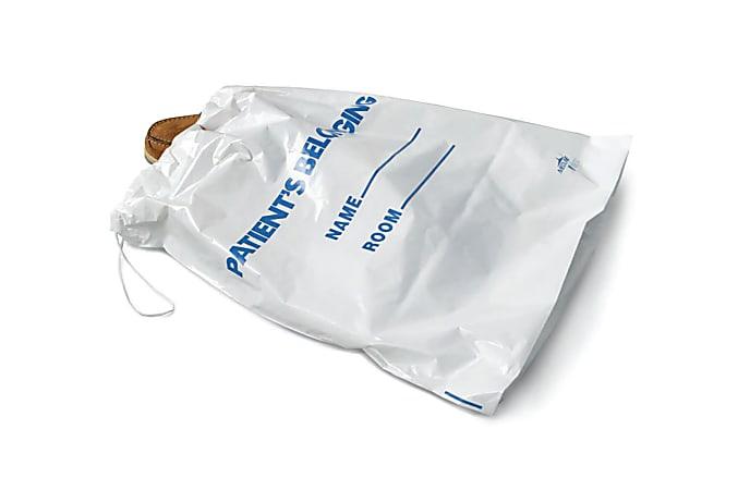 "Medline Drawstring Patient Belonging Bags, 18""H x 20""W x 4""D, White, 25 Per Pack, Case Of 10"