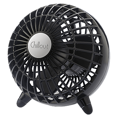"""Chillout USB/AC Adapter Personal Fan, Black, 6""""Diameter, 1 Speed"""